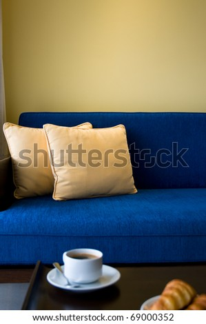 Pent house living room with beautiful interior design and coffee - stock photo