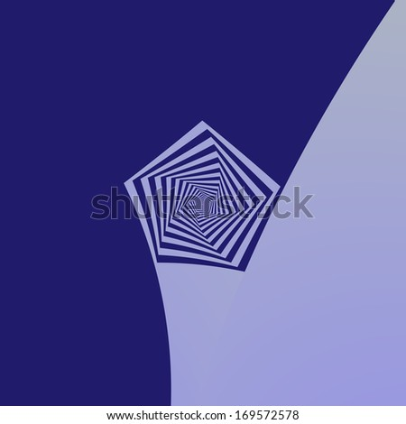 Pentagon Spiral Blues / Digital abstract fractal image with a spiral pentagon design in shades of blue. - stock photo