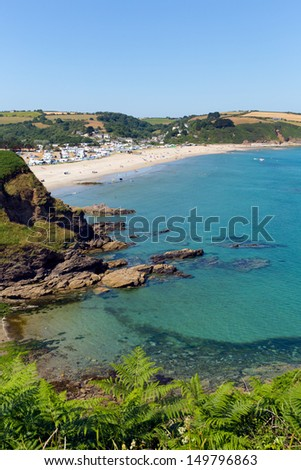 Pentewan Cornwall England between Mevagissey and Porthpean on a beautiful blue sky summer day