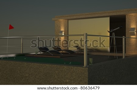 Penthouse. 3D night render