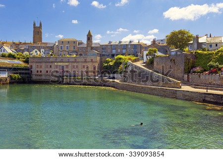 Penzance, Cornwall, England - JULY 31: building of abbey Warehouse in Penzance harbour on July 31, 2015 in Penzance, Cornwall, England, now art gallery and hotel - stock photo