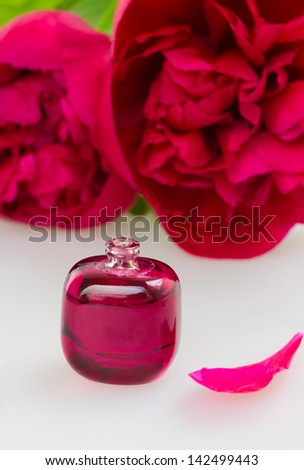 Peonies fragrance - small bottle with essential oil and flowers