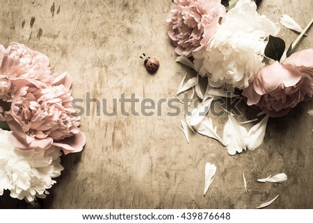 Peonies on a wooden background/toned photo