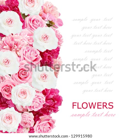 Peony and roses background isolated on white