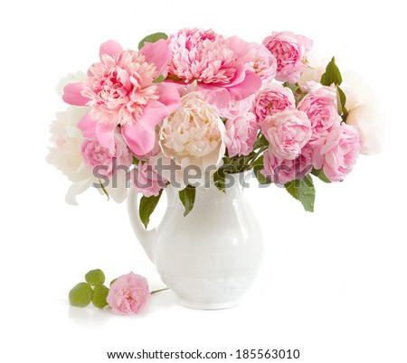 Peony and roses bunch in vase isolated on white background - stock photo