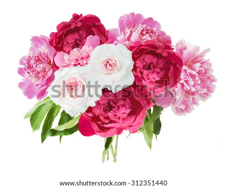 Peony and roses flowers bunch in vase isolated on white background - stock photo