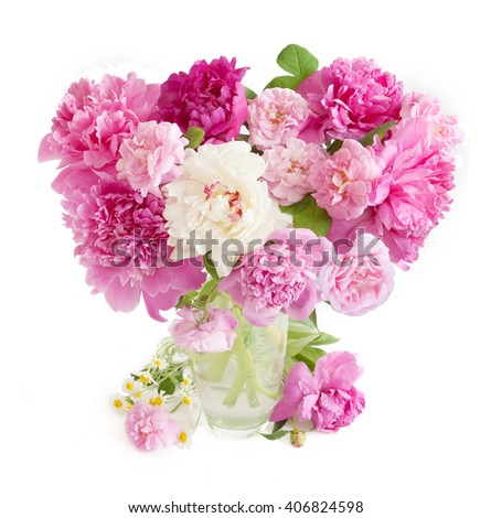 Peony, chamomile and rose flowers bunch isolated on white background - stock photo