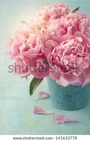 Peony flowers in a vase - stock photo