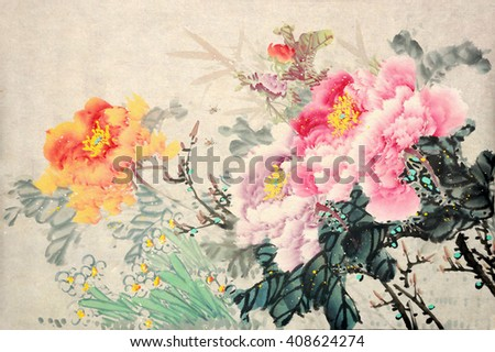 Peony flowers.Traditional chinese ink painting.