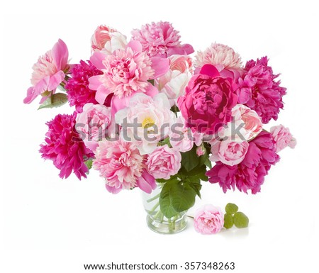 Peony,rose and tulips flowers bunch isolated on white background