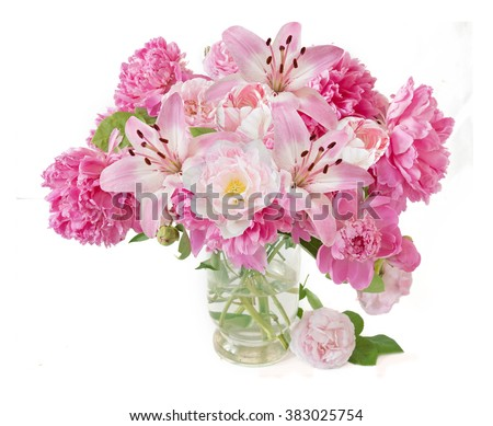Peony,rose, lily and tulips flowers bunch isolated on white background - stock photo