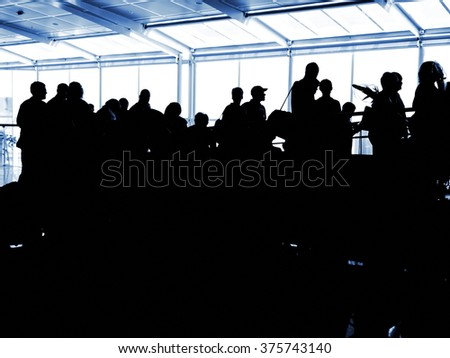people airport silhouettes - stock photo