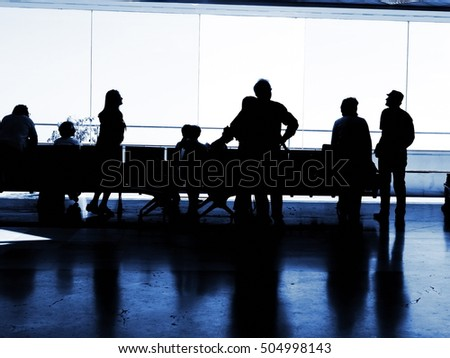 people airport silhouettes