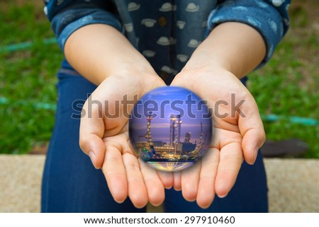 People and industry living together. - stock photo