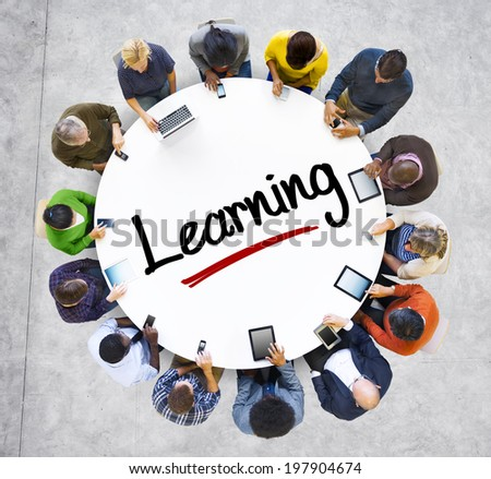 People and Learning Concept with Textured Effect - stock photo