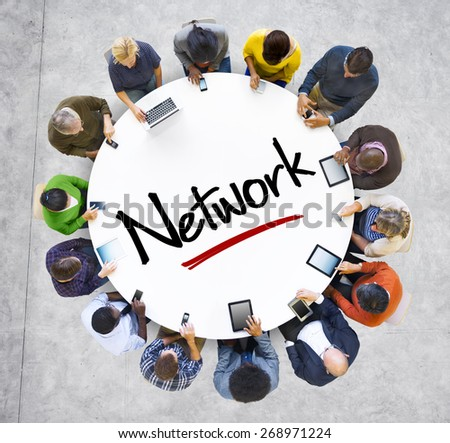 People and Network Concept with Textured Effect - stock photo