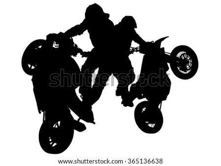 People and sport bike on white background - stock photo