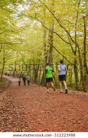 People are running in forest autumn season