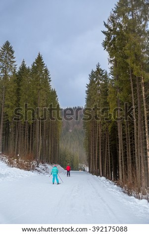 People are skiing down the hill at the ski resort. Ski resort landscape with trees surounding ski slope