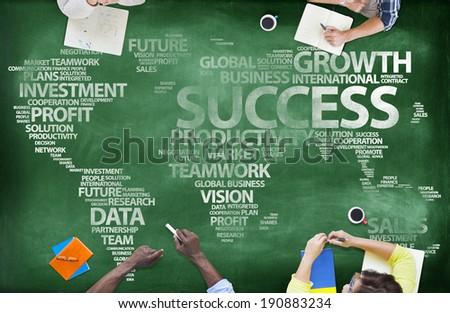 People Around Blackboard With Global Success - stock photo