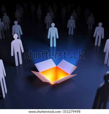 People around the open box. Abstract innovation. 3d render illustration