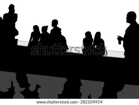 People at bus stop on white background - stock photo
