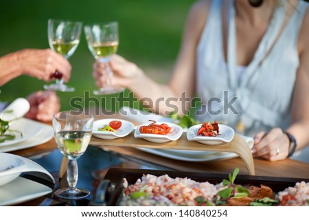 people at dining table in the garden toasting with wine - stock photo