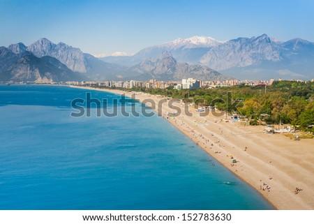 People at Konyaalti beach in Antalya, Turkey - stock photo