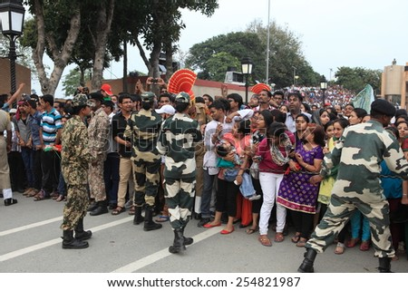 People at the Border Ceremony of Attari in India, 2013 March 20