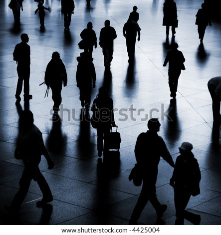 People at the railway station - stock photo