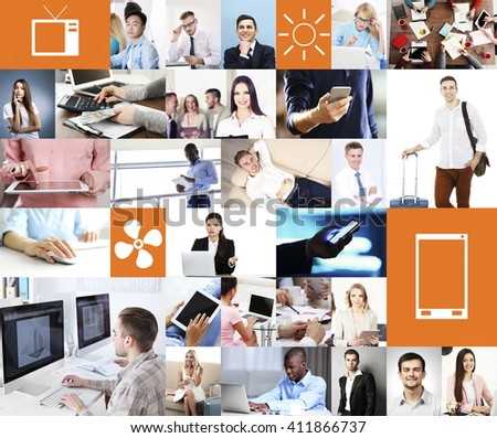People at work in office. Communication networking. Technology content .