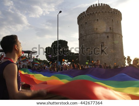 people attended the annual Thessaloniki Gay Pride parade in Thessaloniki, Greece on June 25, 2016 - stock photo