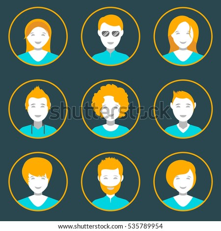 People avatar male and female human faces social network icons set isolated  illustration in style flat design. Raster version.