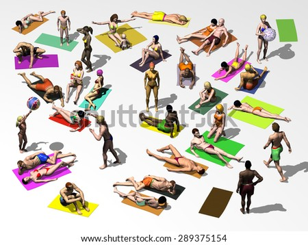 People basking by the pool or beach - stock photo