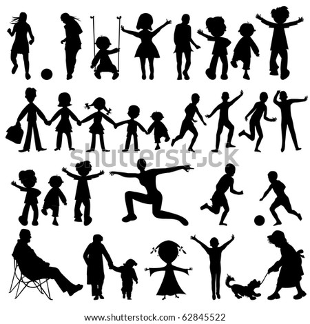 Children Silhouettes Playing Outdoor Stock Vector 256912603 ...