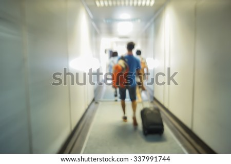 people boarding the airplane at the gate and Passenger plane up,Airport terminal,vintage color