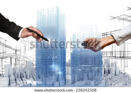 People business draws a project in 3D - stock photo