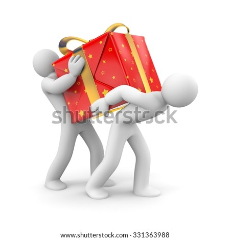 People carry heavy gift - stock photo