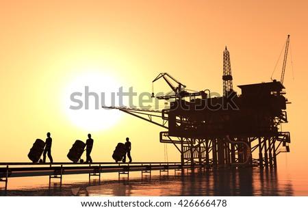 People carry oil in barrels.3d render - stock photo