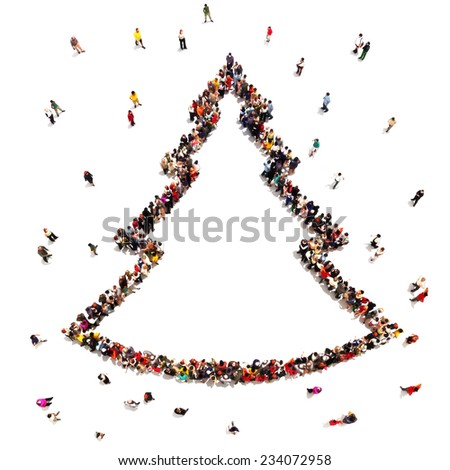 People celebrating Christmas . Large crowd of people in the shape of a Christmas tree with room for text or copy space advertisement on a white background. - stock photo