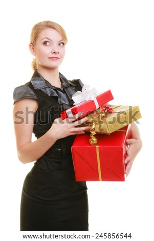 People celebrating holidays, love and happiness concept - beautiful blonde girl with golden red gift boxes isolated