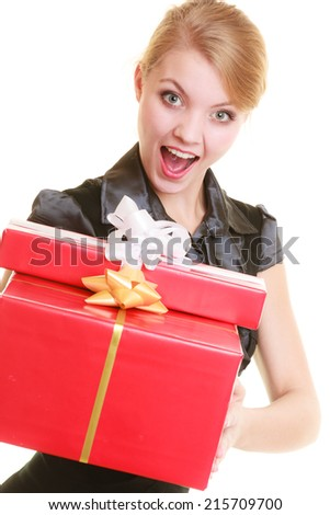 People celebrating holidays, love and happiness concept - excited blonde girl with red gift boxes isolated