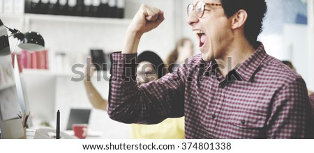 People Celebration Success Working Successful Concept - stock photo