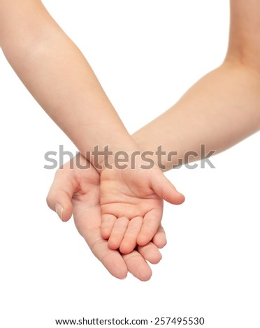 people, charity, family, children and advertisement concept - close up of woman and little child hands holding empty palms