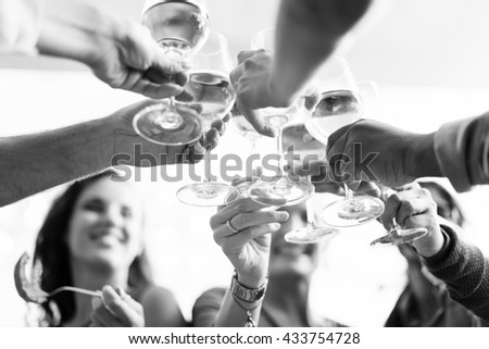 People Cheers Celebration Toast Happiness Togetherness Concept - stock photo
