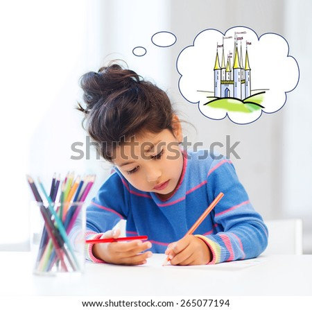 people, childhood, creativity and imagination concept - happy little girl drawing with crayons and dreaming about fairytale castle at home or art school - stock photo