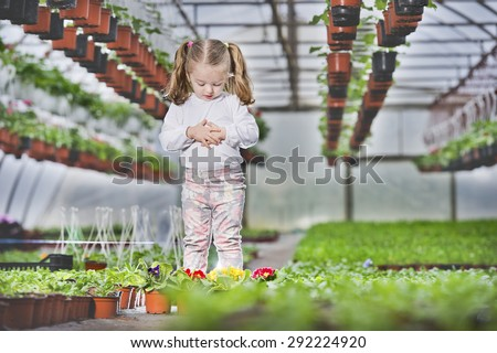 people - children, gardening and profession concept - Gardening, planting - Lovely girl holding flowers in garden center. - stock photo