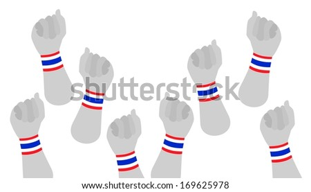 People Clenched Fist Raised Up in The Air with Red, White and Blue Stripe of Thailand Flag Wristband Democracy Symbol for Against Government and Corruption.  - stock photo