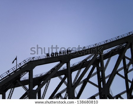 People climbing History bridge in Brisbane of Queenland,Australia. - stock photo