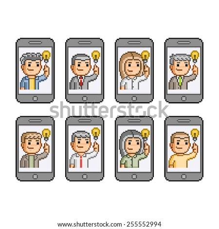 People communicate on smartphones.  - stock photo